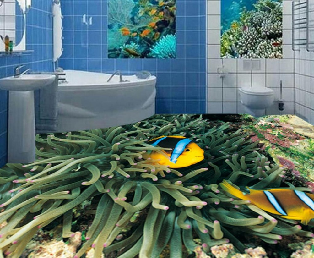 Wallpaper For Walls 3 D Waterproof Floor Tiles Underwater World Fish Coral Photo Wallpaper For Living Room Bathroom 3D Flooring 3d flooring underwater murals hd coral 3d floor wallpaper for bedroom walls vinyl floor wallpaper 3d for children room