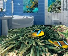 Wallpaper For Walls 3 D Waterproof Floor Tiles Underwater World Fish Coral Photo Wallpaper For Living Room Bathroom 3D Flooring(China)