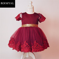 Roimyal Wholesale 2017 New Toddler Kids Sequined Bowknot Mesh Dress Baby Girls Summer Cute Clothing Pink