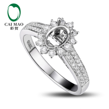 CaiMao Oval cut Semi Mount Ring Settings & 0.64ct Diamond 18k White Gold Gemstone Engagement Ring Fine Jewelry