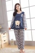 Полоску кормящих медведь установить материнства костюмы повседневная уход длинным пижамы осень