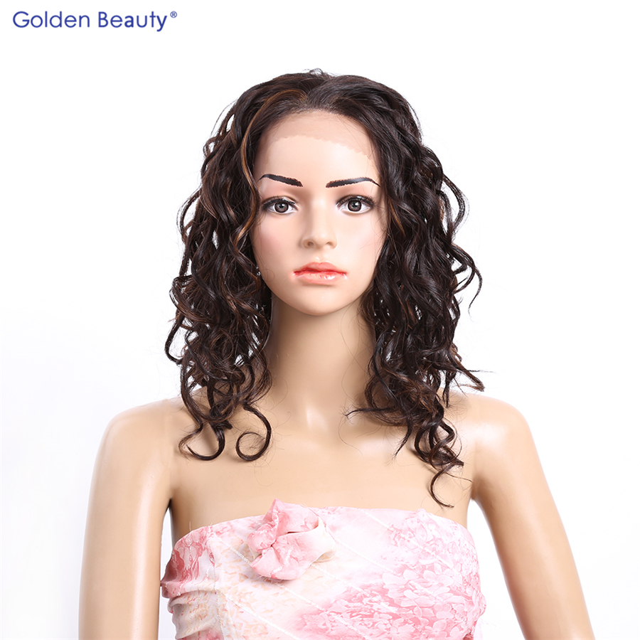 ФОТО Golden Beauty Synthetic lace frontal wig 16 inches black deep wavy curly hair wigs synthetic lace front wig for black women
