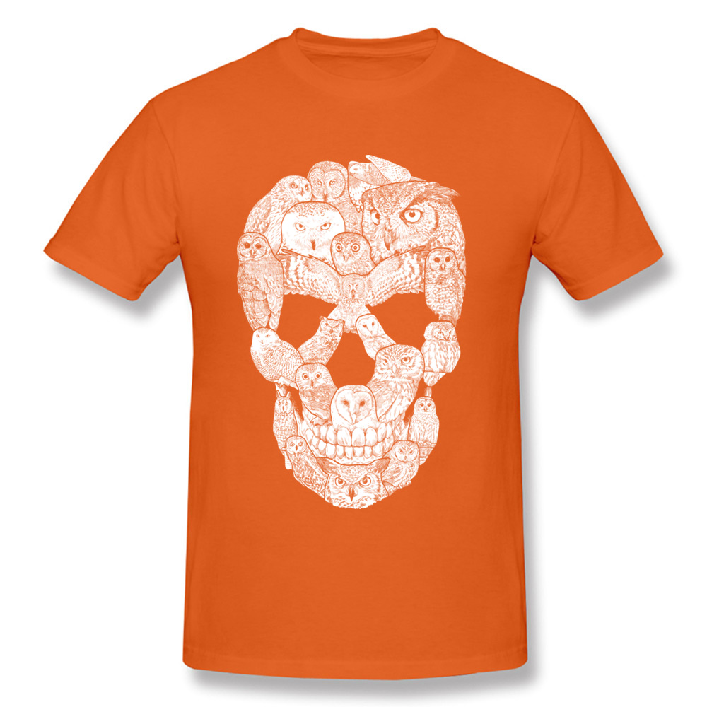 Sketchy Owl Skull Mother Day 100% Cotton Fabric Crew Neck T Shirt Short Sleeve Group Tops T Shirt Company Slim Fit T-Shirt Sketchy Owl Skull orange