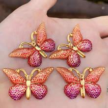 Yeni 10 adet akrilik halka boncuk AB renk çiçek desen kelebek karışık akrilik boncuk takı yapımı için bulgular 23x38mm -B271