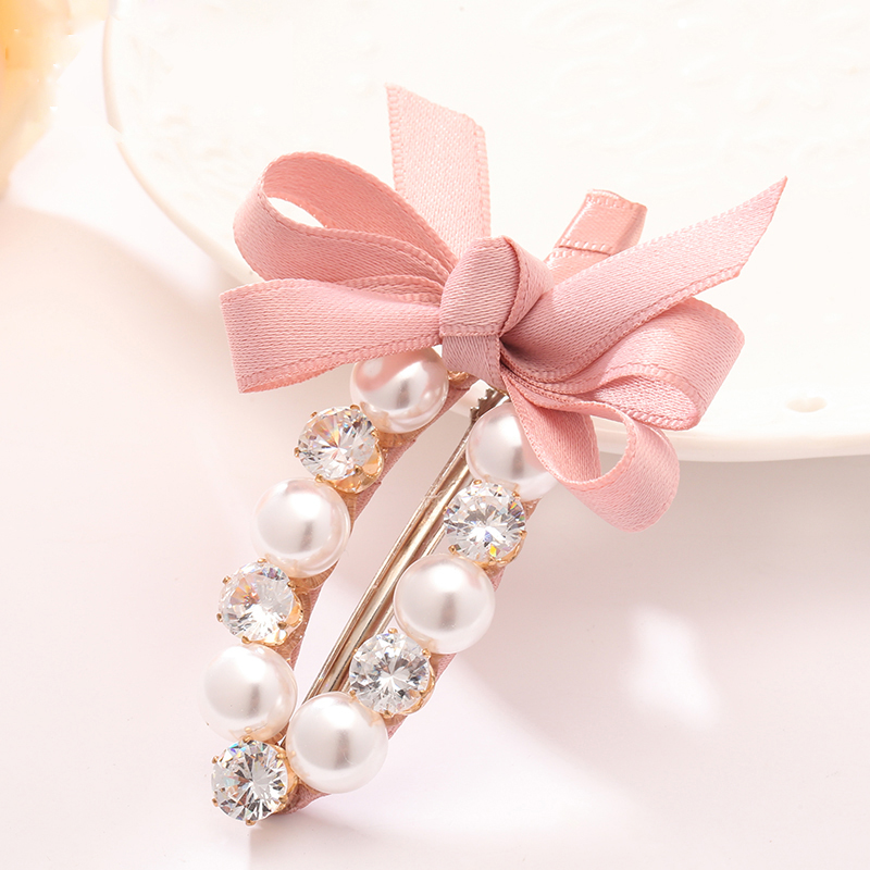 2017 Hot Girls Hair Clips Imitation Pearl Barrette Quality Blink Artificial Crystal Headwear for Women Bow Hair Accessories Clip