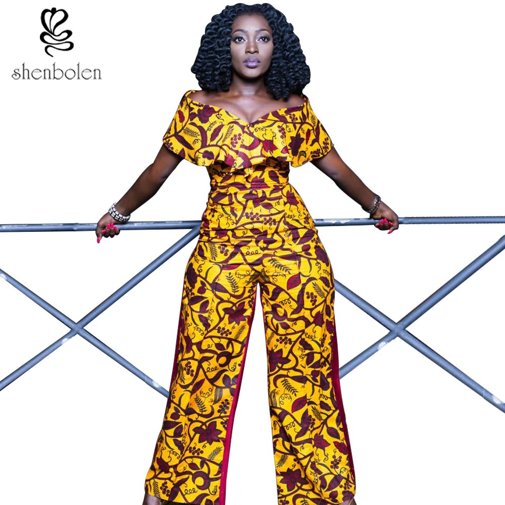 Shenbolen 2017 african clothing for women ankara print cotton Jumpsuits Long Pants Bazin lady clothes sexy off-shoulder neckline