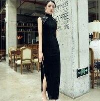 Черное традиционное китайское платье длинные элегантные модные Ципао для банкета с черным Amice мантии