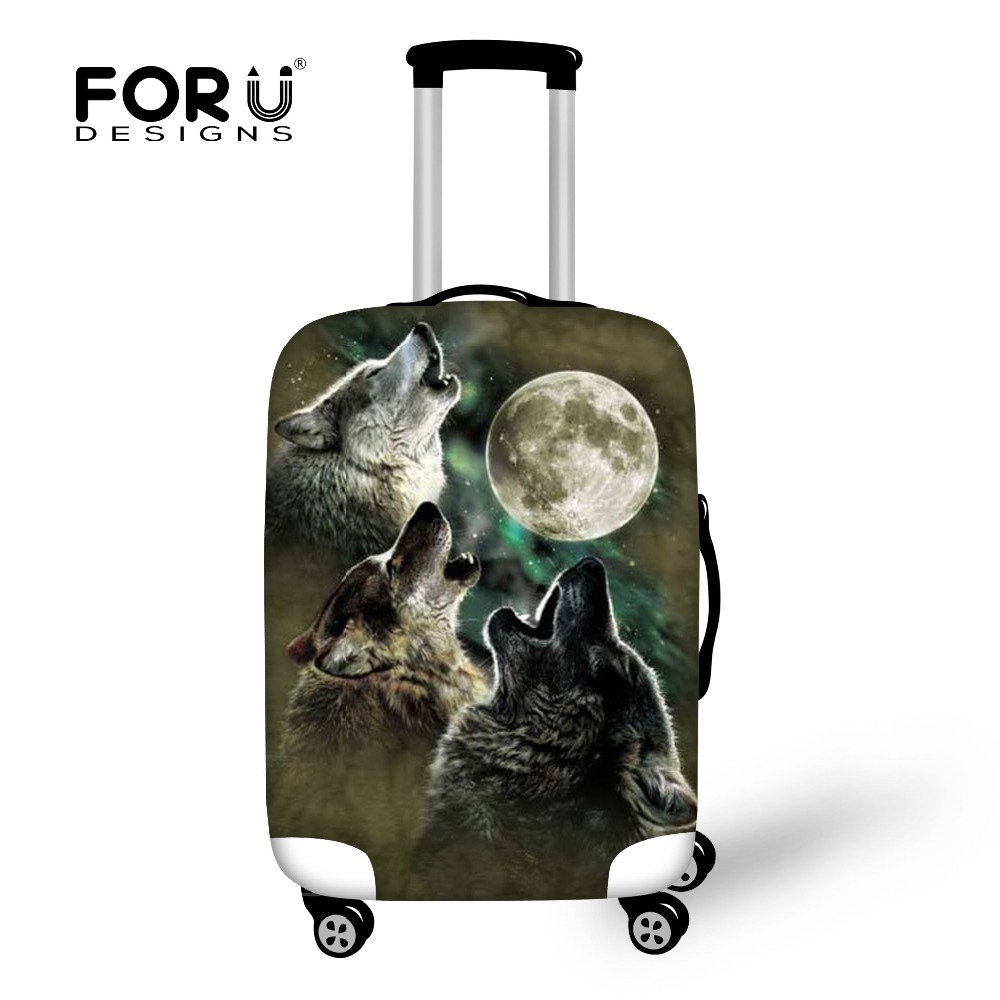 Men travel accessories valise elastic spandex luggage protective covers for 18-30 inch suitcase cool wolf printed cover bags