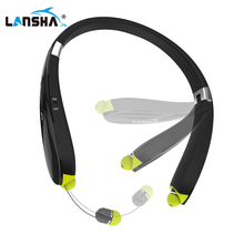 LANSHA Wireless Neckband Headphones Sports Bluetooth Headset With Mic Stereo Bass Noise Cancellation For Iphone Android Phone