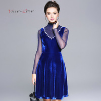 2018 Autumn New Elegant Expensive Gas Nail Bead V Collar Waist Line Split Texture Soft Velvet Fabric Party Lady Big Code Dress