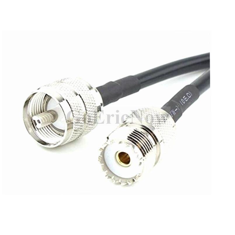 2 pces rf coaxial PL-259 uhf macho para uhf so239 fêmea rg58 cabo conector (50cm)
