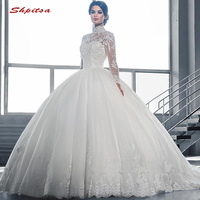 Long Sleeve Lace Wedding Dresses Arabic Ball Gown Plus Size Bride Bridal Weding Weeding Dresses Wedding Gowns 2019