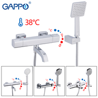 GAPPO Bathtub Faucets thermostatic bath mixer with thermostat wall mounted tub faucet waterfall tapware shower head set