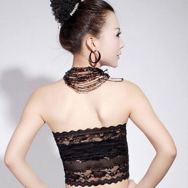 Women's Soft Stretch Strapless Bandeau Floral Lace Bra