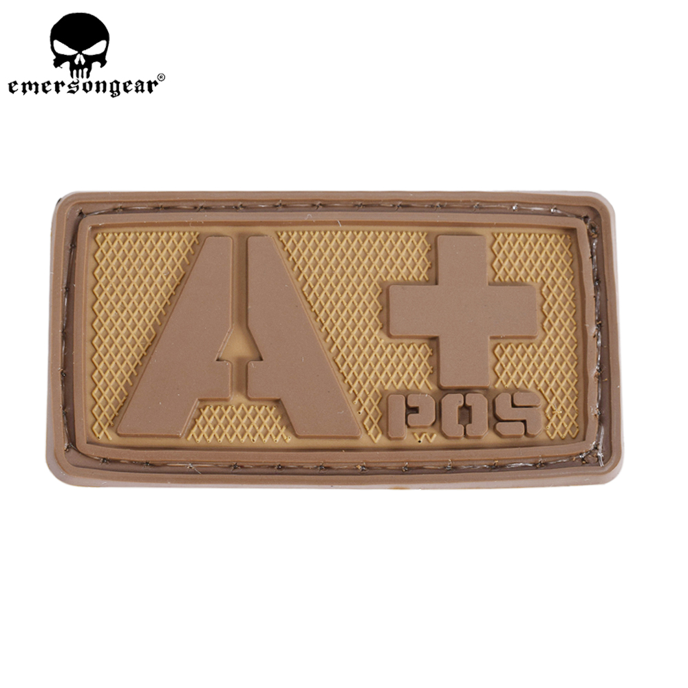 EMERSONGEAR PVC Patch Blood Type A+Tactical Paintball Hunting Equipment Wargame PVC Blood Patch Green Black EM5514