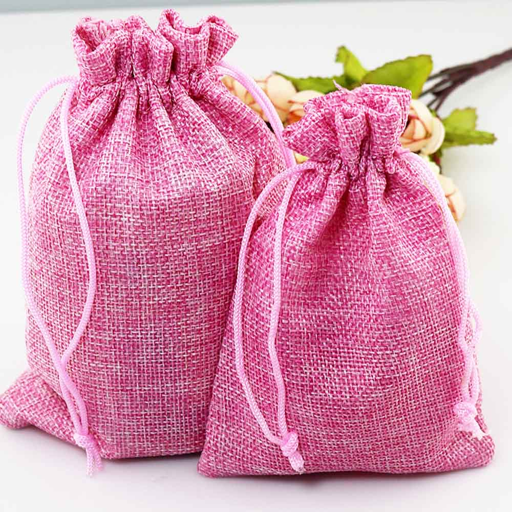 50pcs Vintage Natural Burlap Hessia Candy Box Wedding Party ...