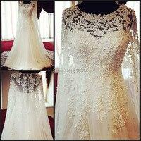 Vestido דה novia חתונה לדוגמא נדל שמלת תחרת applique טול חתונת שמלות כלה קו שרוול ארוך M96