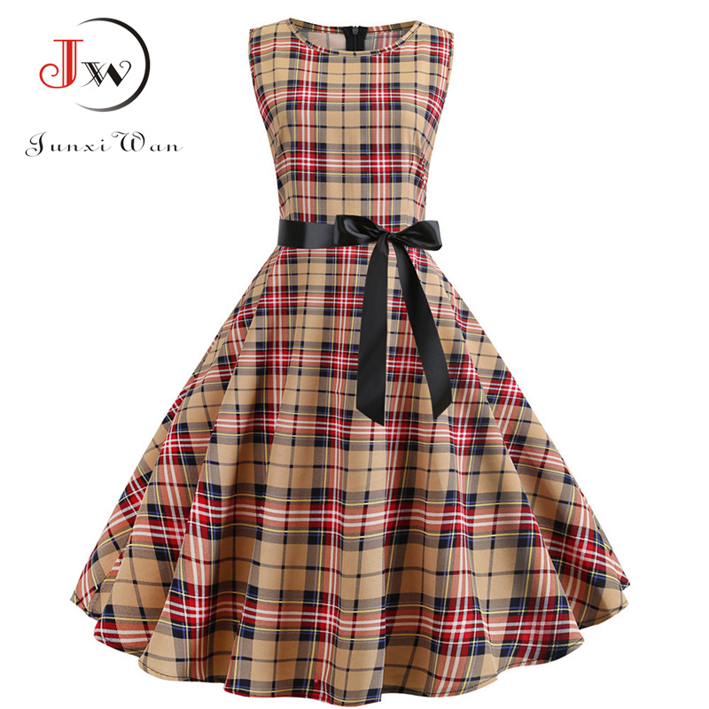 Summer 50s 60s Retro Vintage Plaid Dress Women Sleeveless Elegant Rockabilly Party Dresses Vestidos Plus Size Casual Midi Tunic