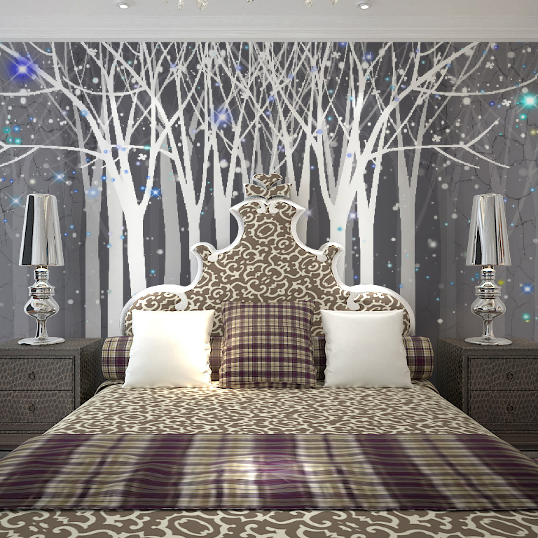 Fashion Modern Laege Fancy Forest Pattern Tv Sofa Ofhead Background