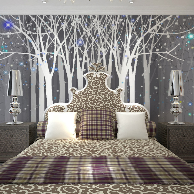 Fashion Modern Laege Fancy Forest Pattern Tv Sofa Ofhead Background Wallpaper Black And White Bedroom Mural