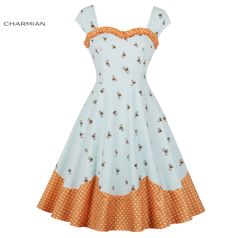 Charmian Women's Fashion Vintage White Bees Print Wide Straps Heart Bust Line Sleeveless High Waist Swing Dress