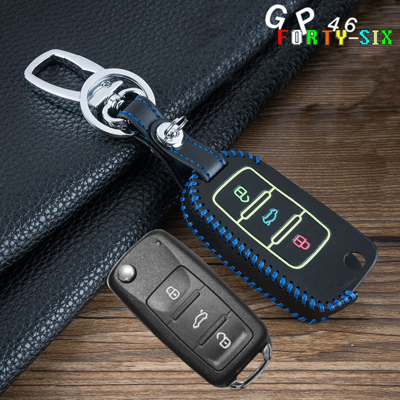 GPFORTYSIX Car Luminous Key Cover Case Chain For For VW Touran Caddy Tiguan Lavida Bora For Skoda A5 Fabia Rapid For Seat Leon