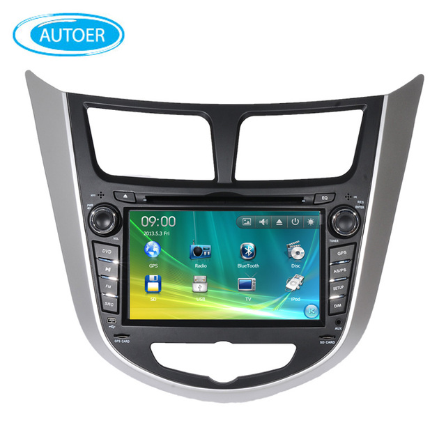 US $124 5 |Wince 6 0 7 inch 2 DIN Car DVD player for hyundai Verna Accent  Solaris Grand Avega Hatchback Accent Blue with SWC BT USB DVD GPS-in Car