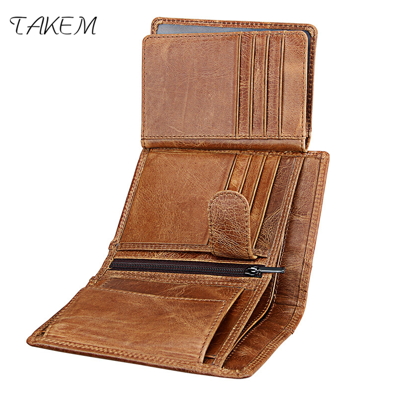 TAKEM 2018 Genuine Cow Leather Mens woman Wallet Fashion Coin Pocket Brand Trifo