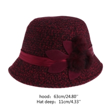 Ladies Flower Women Striped Hat Cap Faux Woolen Hats Caps Elegant Warm Winter New Fashion Hats Caps