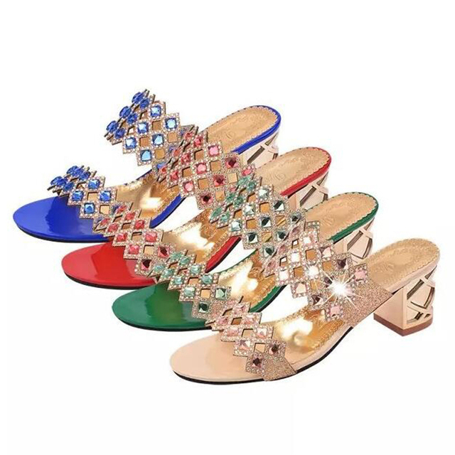 NEWORANGE 2017 Shiny Rhinestone Women Sandals Cut Out Slides Casual Slippers Thick Heel Women Shoes Big Sizes 35-41 WSS754