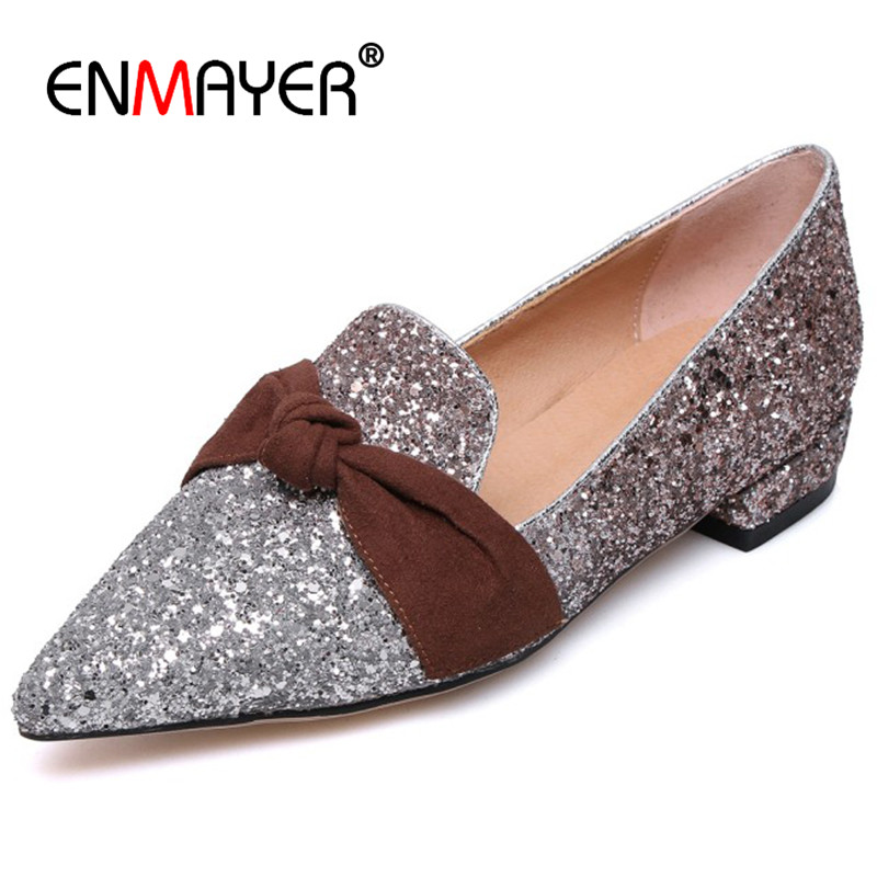 ENMAYER Pointed Toe Flats Glitter Champagne Goldden Shoes