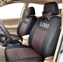front 2 seat cover for mitsubishi asx outlander lancer pajero cotton mixed silk grey black beige embroidery logo car seat covers