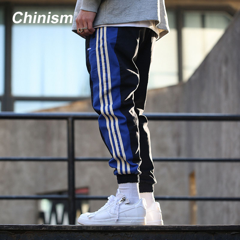 CHINISM 2018 Spring Side Stripe Patchwork Casual Pants Men's Loose Hip Hop Jogger Pants 2 Color Drawstring Stylish Sweatpants