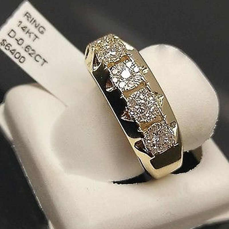 Luxe Man Vrouw Meisjes Geometrische Ring Gevuld & Gold Ring Promise Wedding Engagement Ringen Voor Vrouwen Meisje Beste Cadeaus
