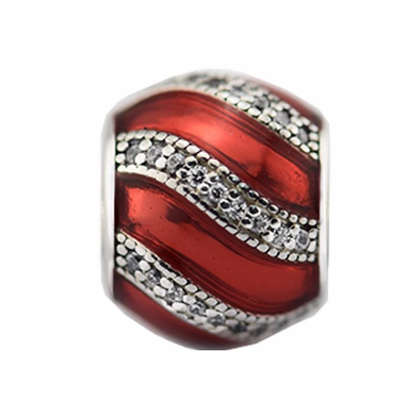 Fits pandora Bracelet Red Adornment Charm Clear zircon Cz New Original 100 925 sterling silver jewelry