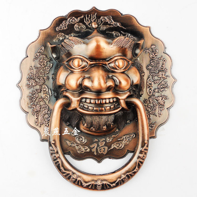 Antique Chinese lion head door knocker Shoutou Grip diameter 18cm