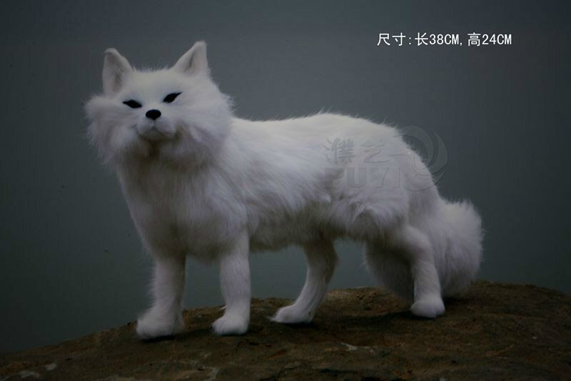 large 38x24cm simulation fox toy white furry fur fox hard model home decoration gift h1139 new simulation red fox toy polyethylene