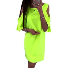 2019 Summer Dress Plus Size 4XL 5XL Off Shoulder Neon Green Women Chiffon Club Party Mini Dress Beach Boho Black White Pink