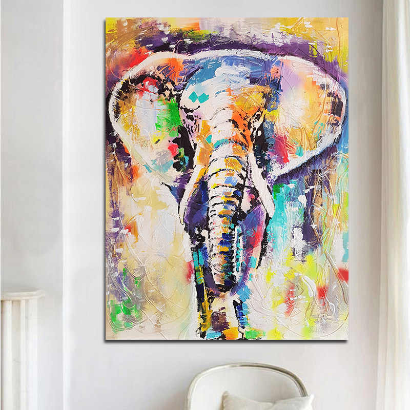 GOODECOR Wall Art Painting Abstract Animals Oil Prints Colorful Elephant Posters Wall Art Canvas Painting for Living Room