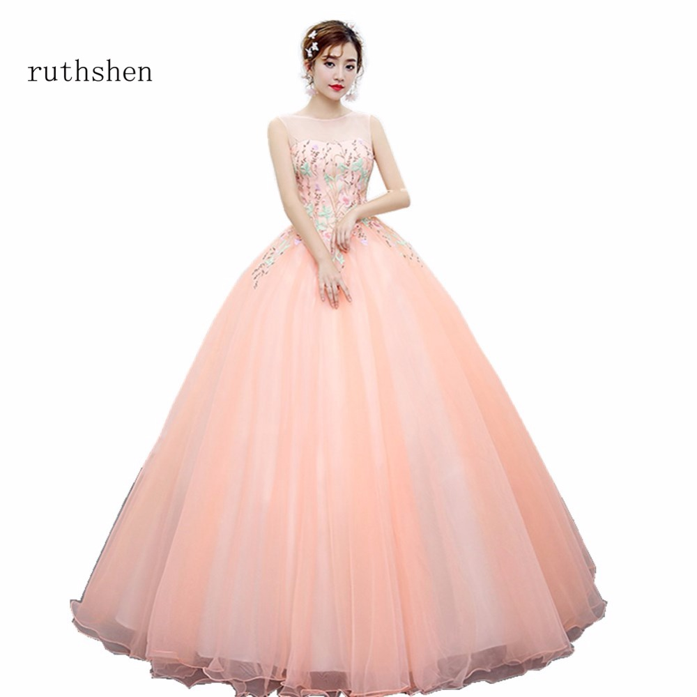 ruthshen Pink Ball Gown Prom Dresses 2018 New Flowers Embroidery ...