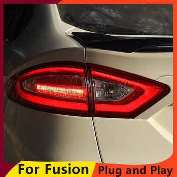 KOWELL Car Styling 1 lot 4pcs For Ford Mondeo Fusion Taillights 2013-2016 LED Tail Lamp Rear Lamp DRL+Brake+Park+Signal lig