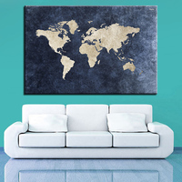 HD Prints Poster Framework Office Decor 1 Piece Pcs Blue World Maps Canvas Painting Retro Abstract