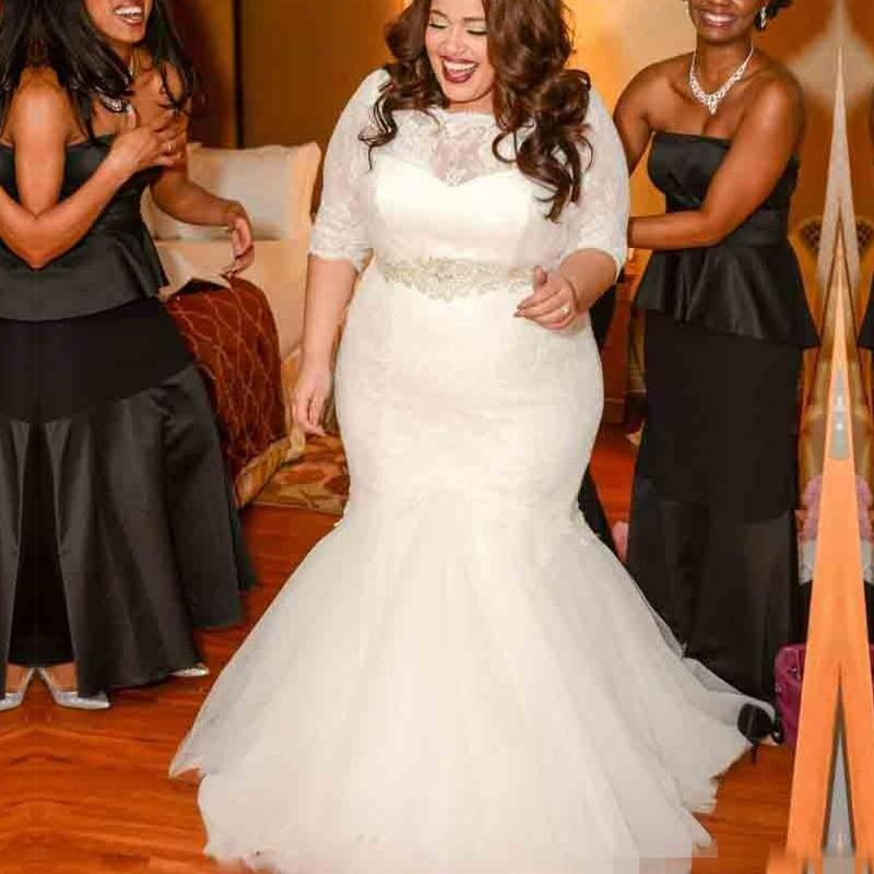 2016 plus size mermaid lace wedding dresses with half for Lace wedding dresses plus size
