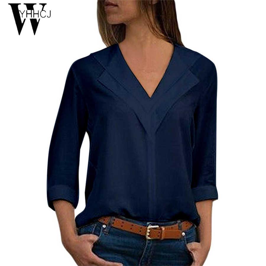 2019 White Blouse Long Sleeve Chiffon Blouse Double V-neck Women Tops and Blouses  Office Shirt Lady Blouse Shirt Blusas Camisa