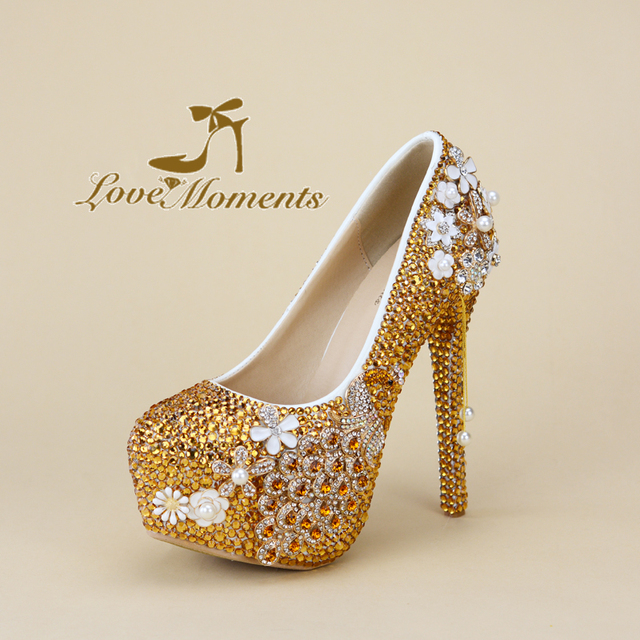 f3f6c649d3b Gorgeous Matric Graduate Farewell Ceremony Shoes Round Toe High Heel  Wedding Shoes Gold Rhinestone Peacock Formal Dress Shoes