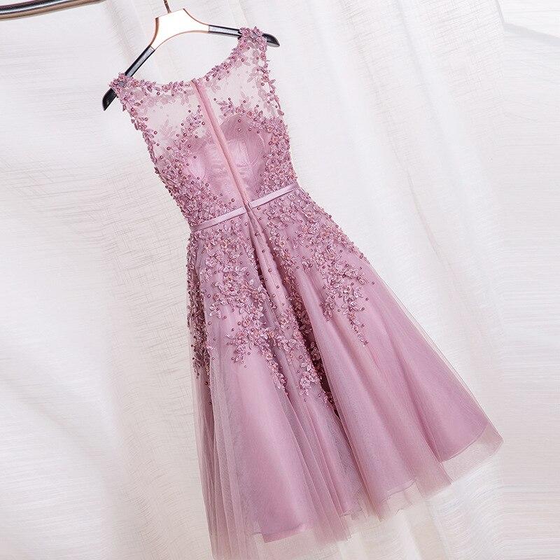 De Encaje de color rosa Vestidos de fiesta Cortos Bordado con ...