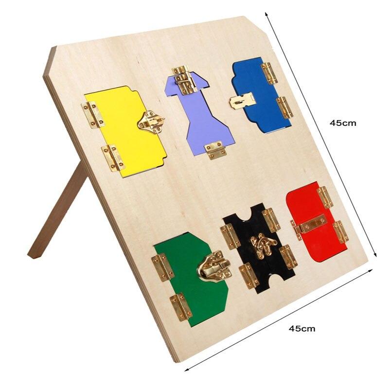 ФОТО New Design Montessori Materials Lock Wood Board Activity Box Color 45cm Free Shipping Montessori Educational Wooden Toy WD11