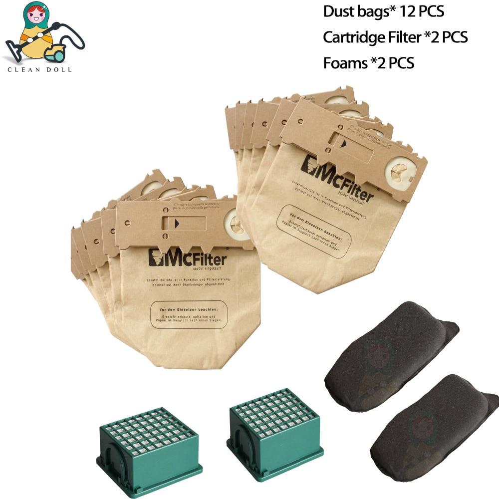 Multiple Sets Replacement Hepa Filter Motor Carbon Filter Vacuum Cleaner Bags VORWERK KOBOLD VK130 VK131 FP130 FP131 Spare Parts