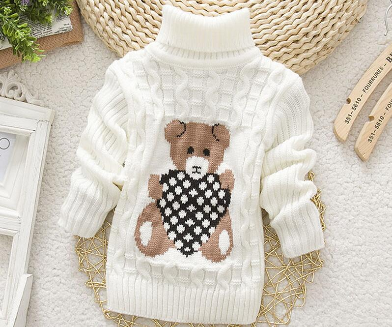 2018 Winter Girls Warm Sweaters Boys Thick Knitted Turtleneck Sweaters Baby High Collar Pullover Cartoon Bear Sweater Kids Coats 2