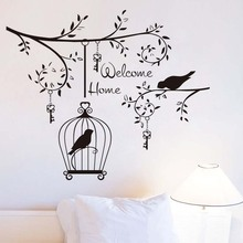 ФОТО welcom home living room decorative wall sticker birds in the tree vinyl removable hanging keys and bird cage decals